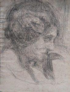 PERFIL FEMININO - CARVÃO SOBRE PAPEL - 31,0 x 23,5 cm - c.1900 - COLEÇÃO PARTICULAR
