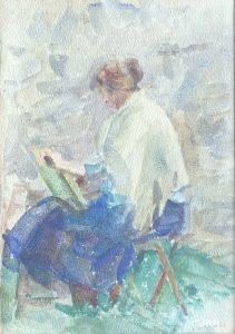 LOUISE PINTANDO - AQUARELA - 23.5 x 17.5 cm - c.1930 - COLEÇÃO PARTICULAR