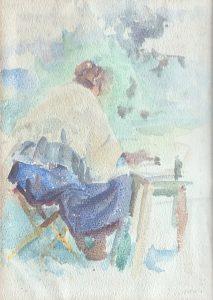 LOUISE PINTANDO - AQUARELA - 23.7 x 17.3 cm - c.1930 - COLEÇÃO PARTICULAR