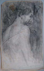 DORSO MASCULINO - CARVÃO SOBRE PAPEL - 43 x 27 cm - c.1899 - COLEÇÃO PARTICULAR