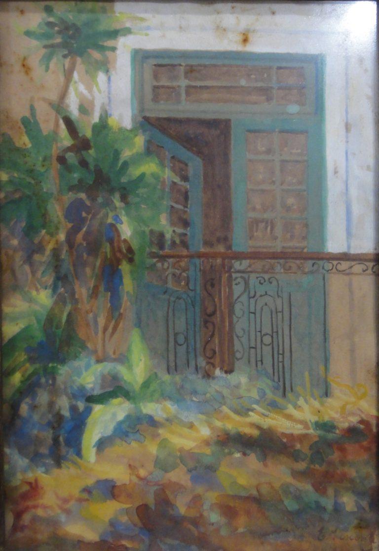 VARANDA DA MINHA CASA - AQUARELA - 23,0 x 16,0 cm - c.1930 - COLEÇÃO PARTICULAR