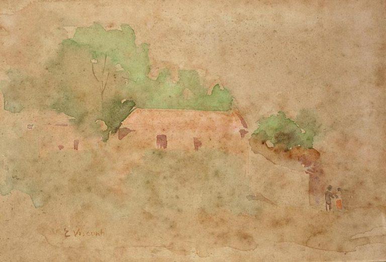 ENCOSTA COM CASA - AQUARELA - c.1904 - COLEÇÃO PARTICULAR