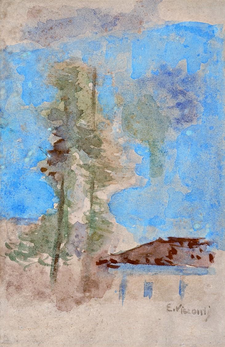 ESTUDO PARA MORRO DE SANTO ANTÔNIO - AQUARELA - 18,0 x 12,0 cm - c.1925 - COLEÇÃO PARTICULAR