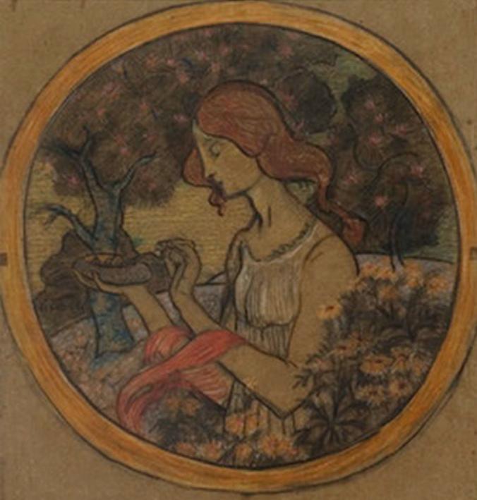 "ESTUDO PARA ""A PRIMAVERA"" - PRATO EM CERÂMICA - PASTEL - c.1900 - PINACOTECA RUBEN BERTA - PORTO ALEGRE/RS"