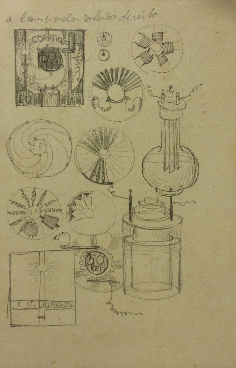 """ESTUDO PRELIMINAR PARA O SELO """"A ELETRICIDADE"""" - LÁPIS SOBRE CARTÃO - 14,2 x 9,3 cm - c.1903 - COLEÇÃO PARTICULAR"""