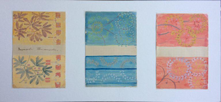 ESTUDOS PARA TECIDO - GUACHE SOBRE PAPEL - 12.0 x 8.0 cm CADA ESTUDO - c.1900 - COLEÇÃO PARTICULAR
