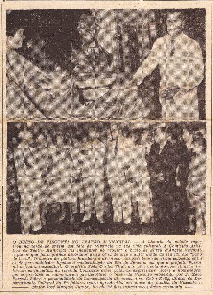 INAUGURAÇÃO DO BUSTO DE ELISEU VISCONTI NO THEATRO MUNICIPAL EM 1952