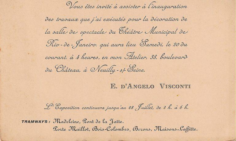 CONVITE PARA A EXPOSIÇÃO DE 1907 EM PARIS
