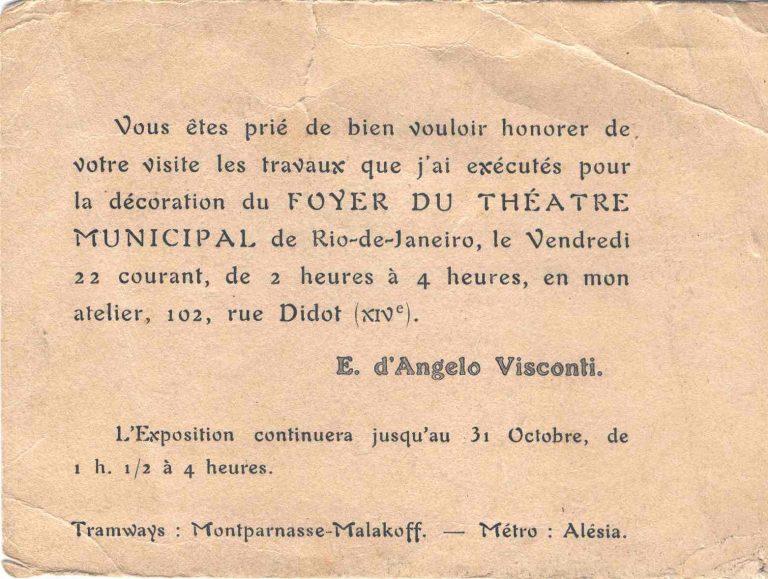 CONVITE PARA A EXPOSIÇÃO DE 1915