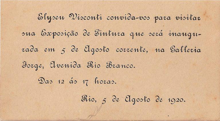 CONVITE PARA A EXPOSIÇÃO DE 1920
