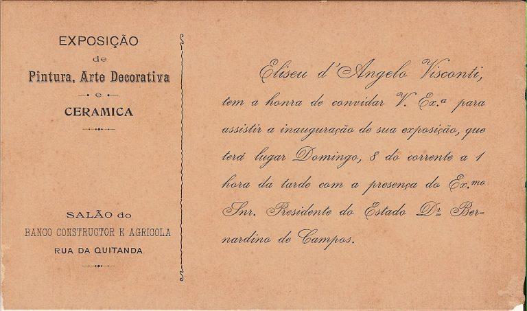 CONVITE PARA A EXPOSIÇÃO DE 1903