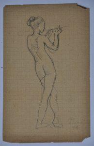 NU FEMININO DE PÉ - CRAYON SOBRE PAPEL - 13,5 x 8,5 cm - 1898 - DESMEMBRADO DE UM CADERNO DE ANOTAÇÕES - COLEÇÃO PARTICULAR