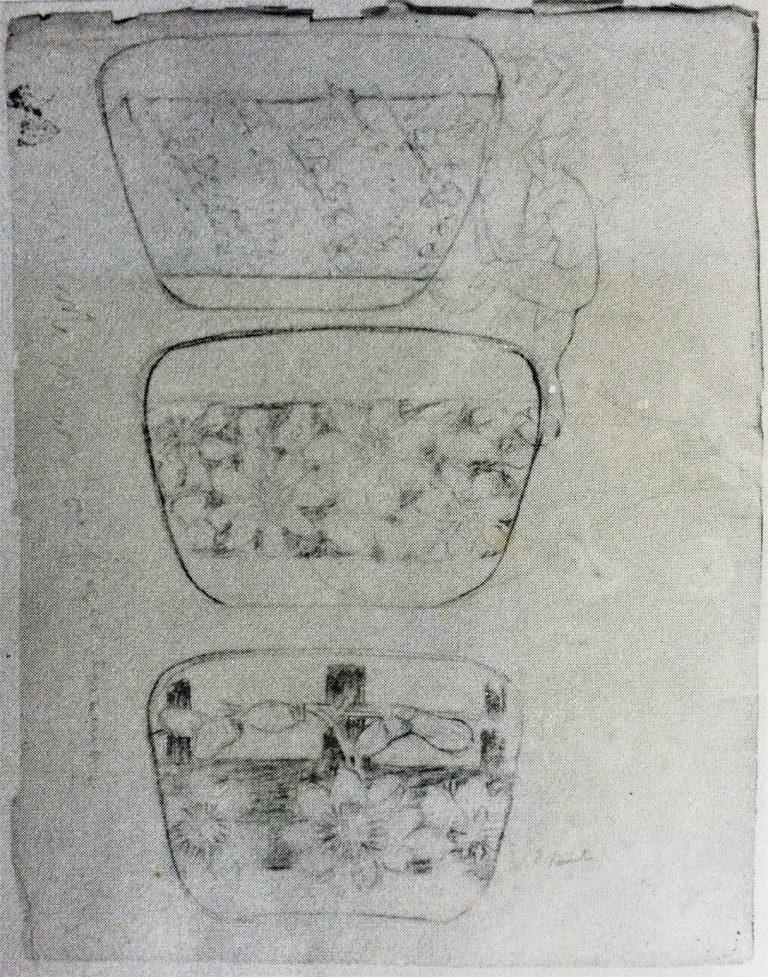"""ESTUDOS PARA A OBRA """"VASO DECORADO COM FLORES DE MARACUJÁ"""" - LÁPIS SOBRE PAPEL - 63,0 x 48,0 cm - c.1902 - LOCALIZAÇÃO DESCONHECIDA"""