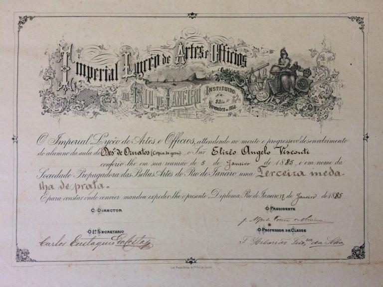 TERCEIRA MEDALHA DE PRATA EM ORNATOS - 1885