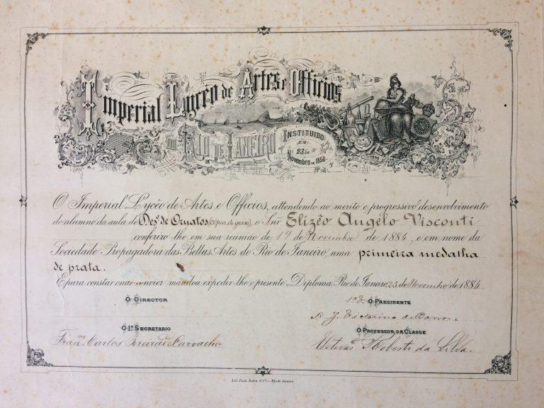 MEDALHA DE PRATA EM ORNATOS NO LICEU EM 1896