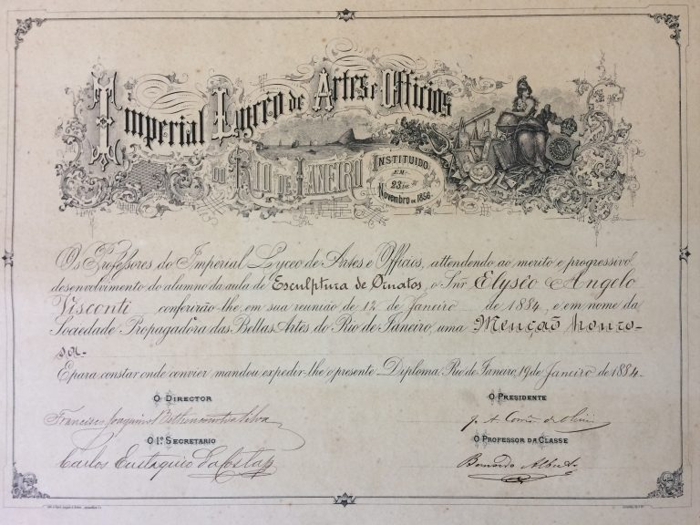 MENÇÃO HONROSA EM ESCULTURA DE ORNATOS 1884