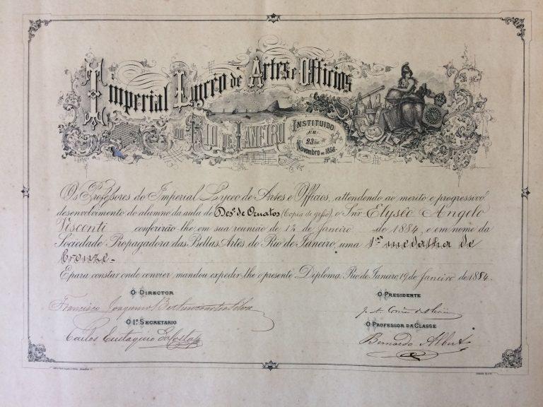 PRIMEIRA MEDALHA DE BRONZE EM DESENHO DE ORNATOS - 1884