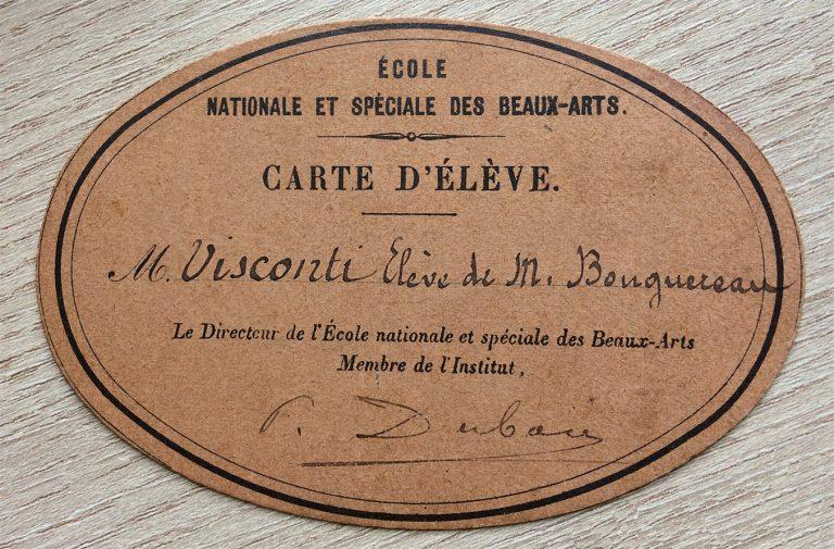 CARTÃO DE ALUNO DA ÉCOLE DES BEAUX-ARTS - 1893