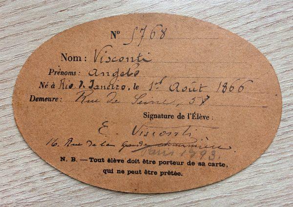 CARTÃO DE ALUNO DA ÉCOLE DES BEAUX-ARTS - 1893 - verso