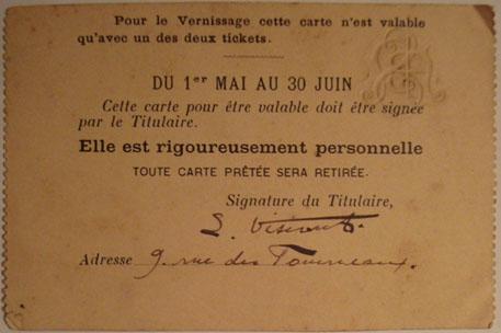 CARTÃO DE EXPOSITOR DE VISCONTI NA SOCIETÉ NATIONALE DES BEAUX-ARTS - 1899 - VERSO
