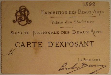CARTÃO DE EXPOSITOR DE VISCONTI NA SOCIETÉ NATIONALE DES BEAUX-ARTS - 1899
