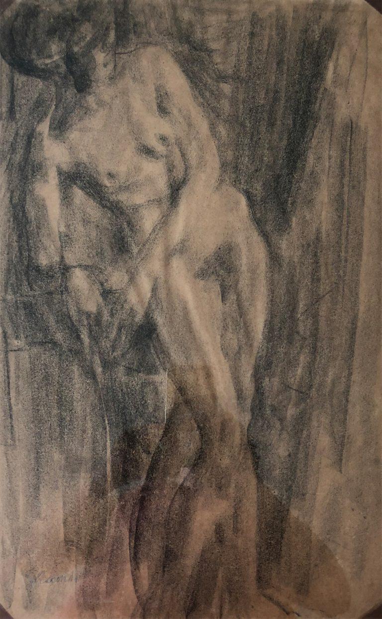 NU FEMININO - FUSAIN SOBRE PAPEL - 46.0 x 21.0 cm - c.1900 - COLEÇÃO PARTICULAR