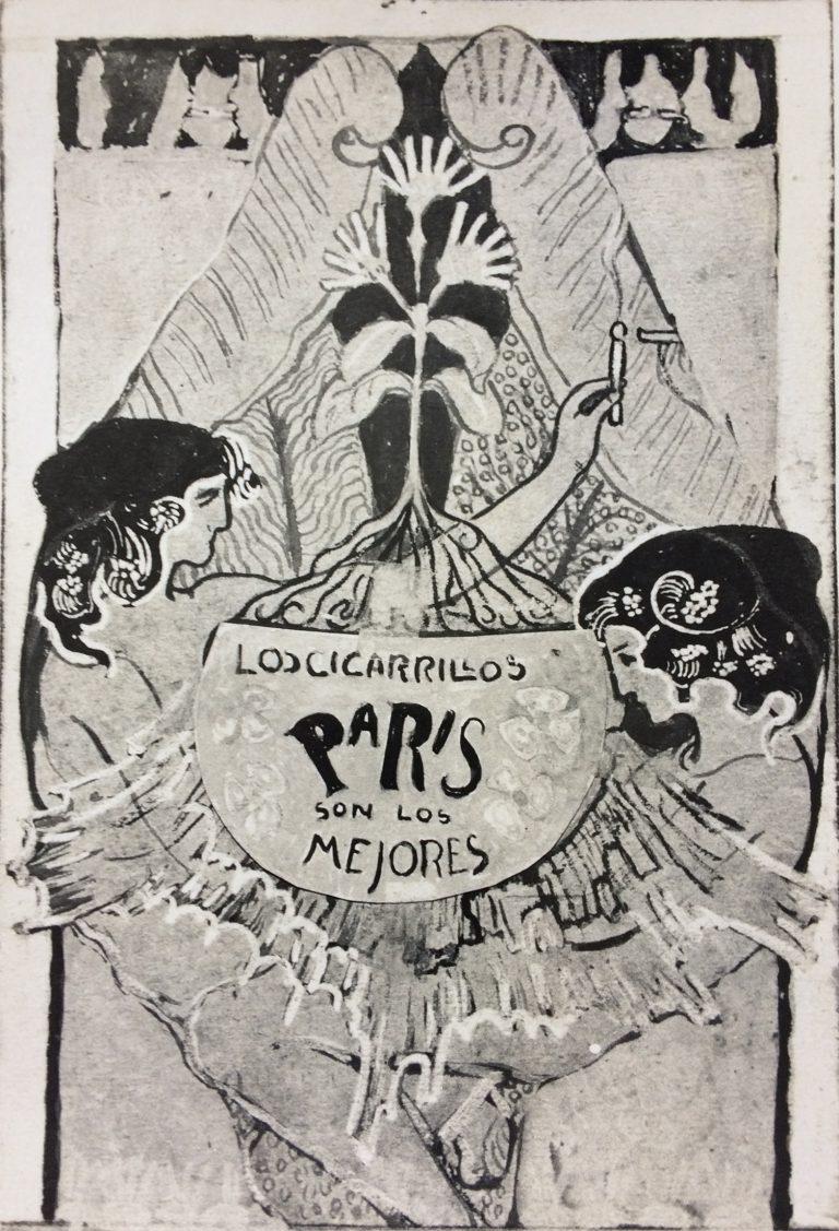 LOS CIGARRILLOS PARIS - ESTUDO PRELIMINAR PARA CARTAZ DE PROPAGANDA DE CIGARROS - AQUARELA E NANQUIM SOBRE PAPEL - 22.0 x 14.1 cm - LOCALIZAÇÃO DESCONHECIDA