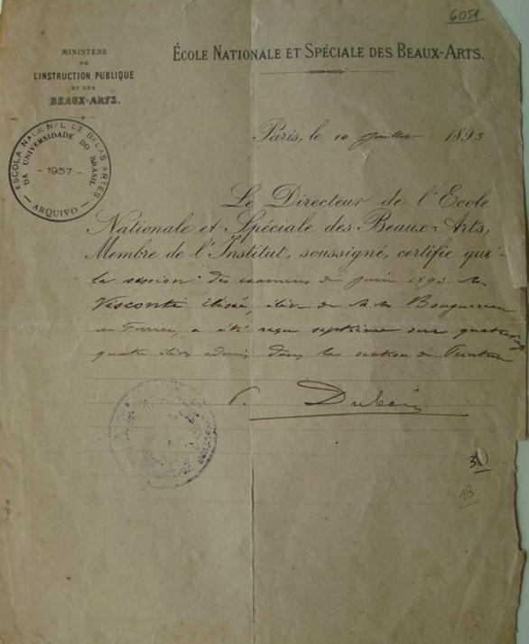 CERTIFICADO DE APROVAÇÃO EM 7º LUGAR NA SEÇÃO DE PINTURA NA ÉCOLE NATIONALE ET SPÉCIALE DES BEAUX ARTS EM 10 DE JULHO DE 1893
