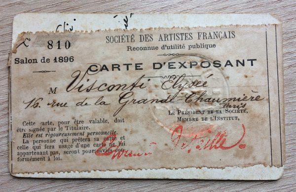 CARTÃO DE EXPOSITOR NO SALON DE LA SOCIETÉ DES ARTISTES FRANÇAIS - 1896