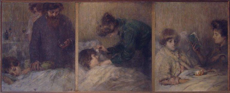 O LAR (TRÍPTICO) - OST - 80 x 189 cm - 1922 - COLEÇÃO PARTICULAR