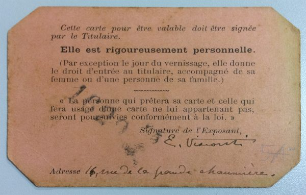 CARTÃO DE EXPOSITOR NO SALON DE LA SOCIÉTÉ DES ARTISTES FRANÇAIS – 1895 - VERSO