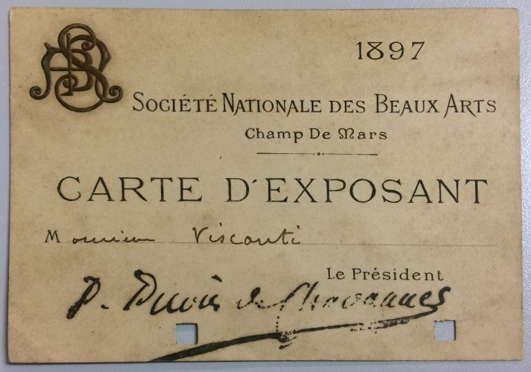 CARTÃO DE EXPOSITOR NO SALON DE LA SOCIÉTÉ NATIONALE DES BEAUX ARTS – 1897