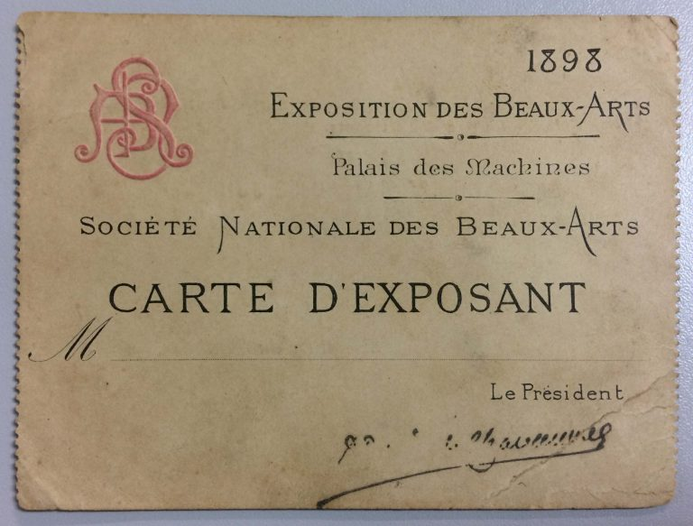 CARTÃO DE EXPOSITOR DE VISCONTI NA SOCIETÉ NATIONALE DES BEAUX-ARTS - 1898