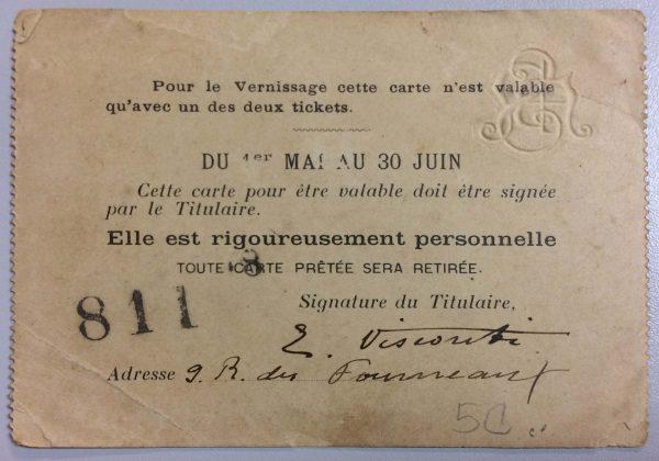 CARTÃO DE EXPOSITOR DE VISCONTI NA SOCIETÉ NATIONALE DES BEAUX-ARTS – 1898 – verso