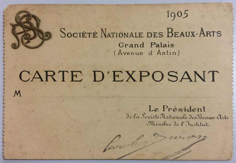 CARTÃO DE EXPOSITOR DE VISCONTI NA SOCIETÉ NATIONALE DES BEAUX-ARTS – 1905