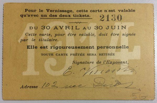 CARTÃO DE EXPOSITOR DE VISCONT NA SOCIÉTÉ DES ARTISTES FRANÇAIS - 1914 - verso