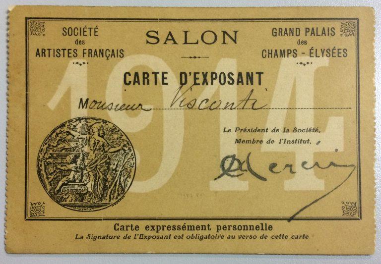 CARTÃO DE EXPOSITOR DE VISCONT NA SOCIÉTÉ DES ARTISTES FRANÇAIS - 1914