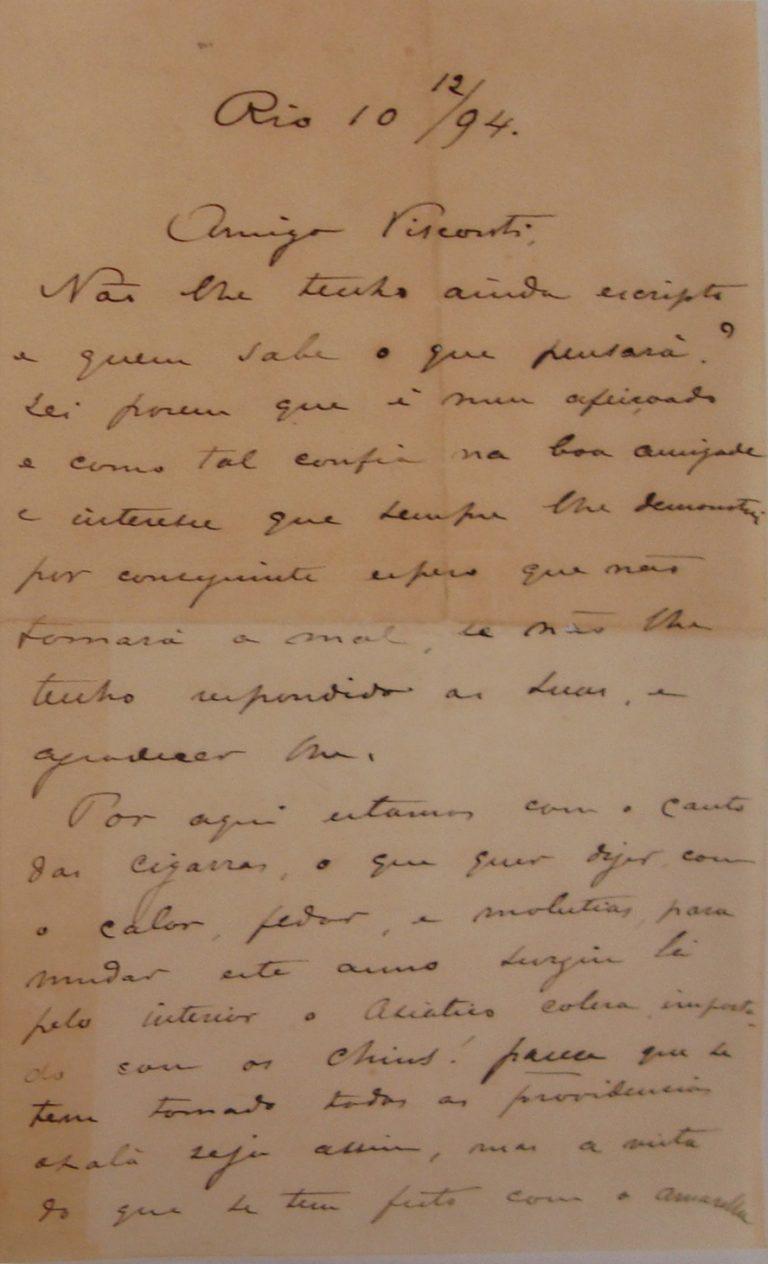 CARTA DE RODOLPHO BERNARDELLI em 10-12-1894 - pag. 1