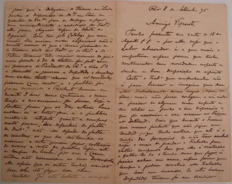 CARTA DE RODOLPHO BERNARDELLI A VISCONTI EM 08/09/1895 - PÁGINAS 1 e 3