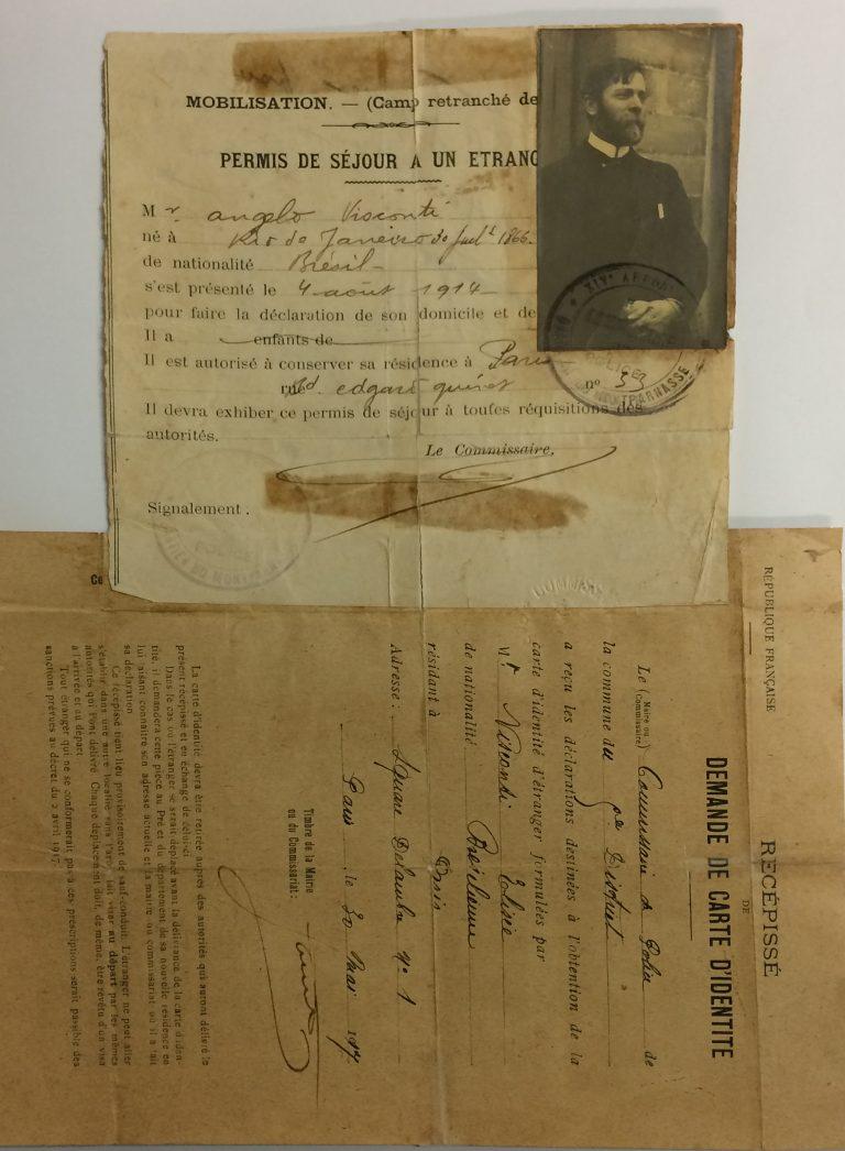 AUTORIZAÇÃO DE RESIDÊNCIA EM PARIS E SOLICITAÇÃO DE CARTEIRA DE IDENTIDADE - 1914