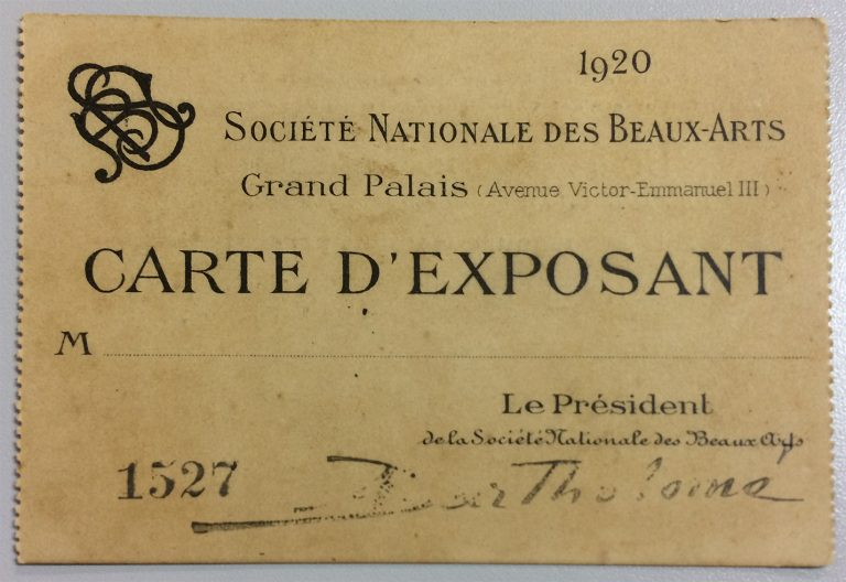 CARTÃO DE EXPOSITOR DE VISCONTI NO SALON DE LA SOCIÉTÉ NATIONALE DES BEAUX-ARTS – 1920