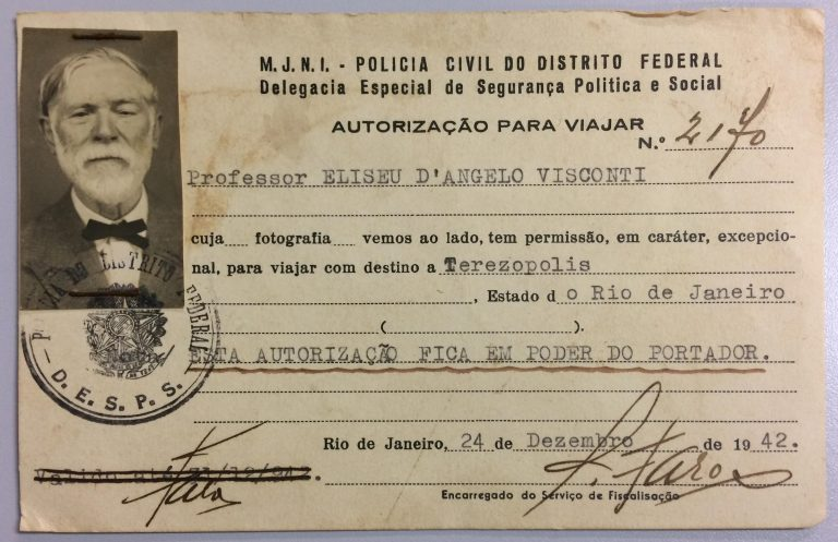 AUTORIZAÇÃO PARA VISCONTI VIAJAR A TEREZÓPOLIS DURANTE A GUERRA - 1942