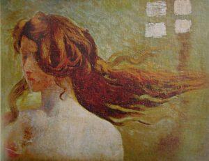 FIGURA FEMININA - OST - 32 x 41 cm - c.1900 - CAIXA CULTURAL BRASÍLIA