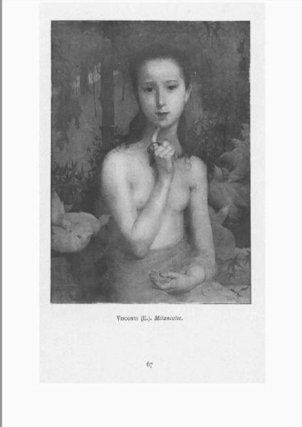 """Catálogo do Salão de Paris de 1899 reproduz a tela """"Gioventù"""", de Visconti."""