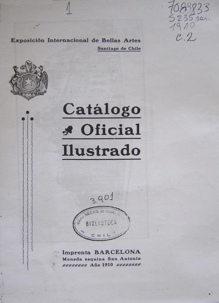 CAPA DO CATÁLOGO DA EXPOSIÇÃO DE 1910 NO MUSEU DE SANTIAGO DO CHILE