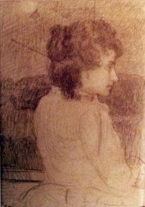 RETRATO DE MOÇA DE PERFIL - ESTUDO - CRAYON SOBRE PAPEL - c.1899 - LOCALIZAÇÃO DESCONHECIDA