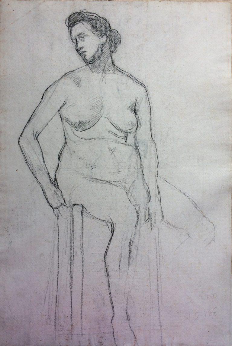 NU FEMININO SENTADO - CRAYON SOBRE PAPEL - 33 x 22 cm - c.1896 - ARTICULAR