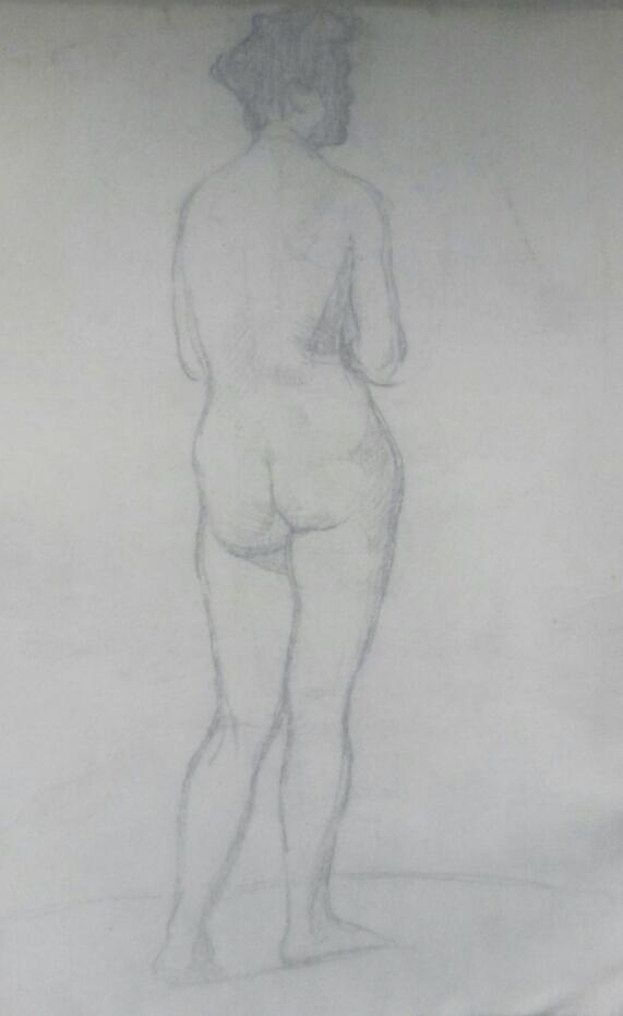 NU FEMININO DE COSTAS - CRAYON SOBRE PAPEL - 34,0 x 23,0 cm - c.1900 - COLEÇÃO PARTICULAR
