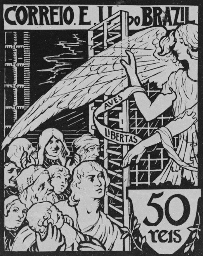 ESTUDO DE SELO PARA OS CORREIOS - PROJETO NÃO UTILIZADO - GUACHE E NANQUIM SOBRE PAPEL - c.1903 - LOCALIZAÇÃO DESCONHECIDA