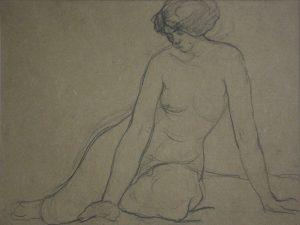NU FEMININO SENTADO - CRAYON SOBRE PAPEL - 23 x 30 cm - c.1914 - COLEÇÃO PARTICULAR